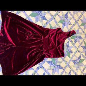 GB velvet one shoulder romper burgundy